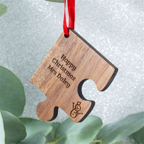 personalised wooden gift teacher christmas decoration by