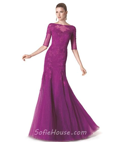 boat neck prom dress mermaid boat neck long purple tulle lace evening prom