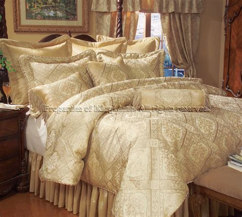 9pcs Queen Gold Imperial Comforter Set Bed In A Bag Ebay