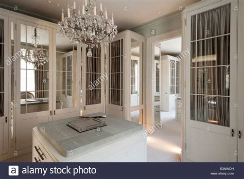 Dressing Room Chandeliers Cut Glass Chandelier In Dressing Room With Glass And Mirror Panelled Stock Photo Royalty Free