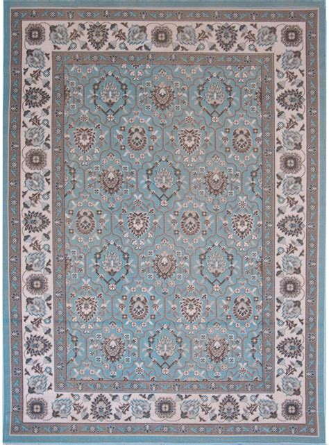 Aqua Blue Traditional 8x10 Area Rug Oriental Bordered Area Rugs 8x10