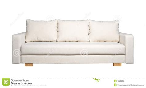 sofa with white fabric upholstery front view stock image