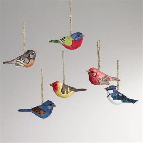 wood bird ornaments set of 6 birds ornaments and bird