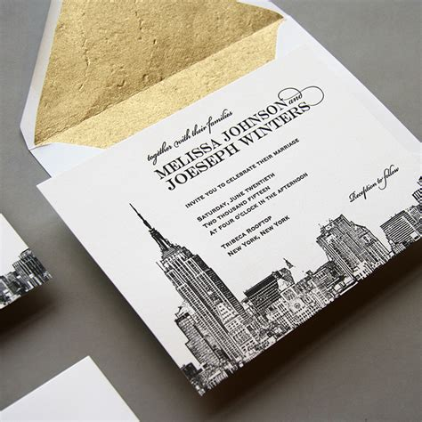 new york city skyline wedding invitations new new york city skyline wedding invitation by steel