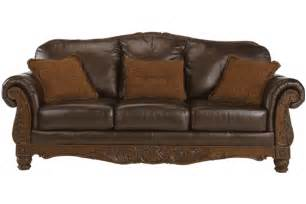 Wood And Leather Sofa Traditional Leather Sofa With Show Wood Accent By Furniture Chicago Leather Furniture Place