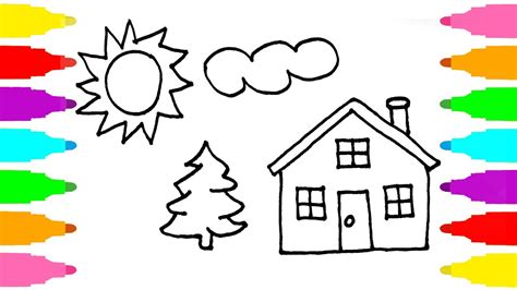 coloring pages for children how to draw house coloring pages for children learn