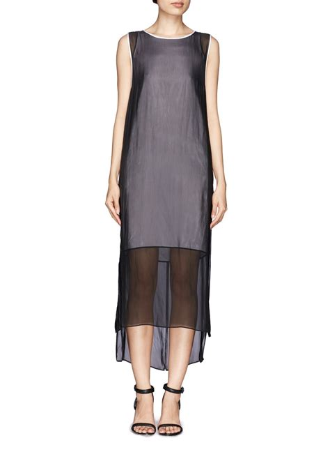 Layer Dress 1 helmut lang sheer layer dress in black lyst
