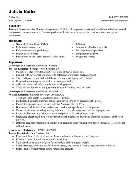Resume Objective Exles Electrician Apprentice Journeymen Electricians Resume Sle My Resume