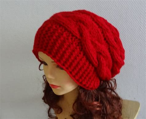 knitted slouchy beanie unisex knit slouchy beanie hat slouch beanie large hat by