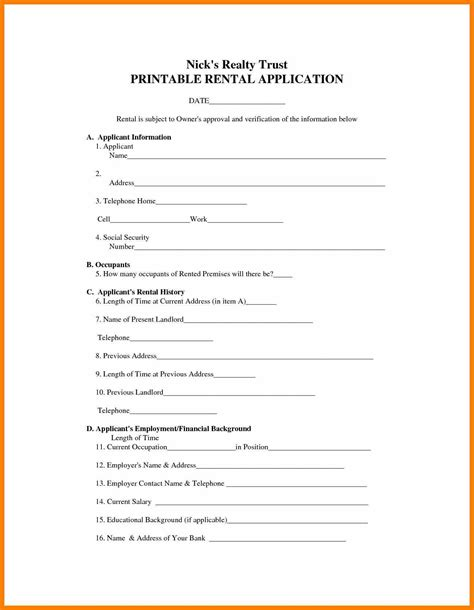 printable free rental application forms free printable rental agreement forms health symptoms
