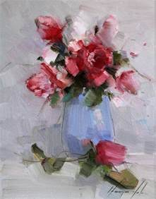 saatchi vase of roses original painting on canvas
