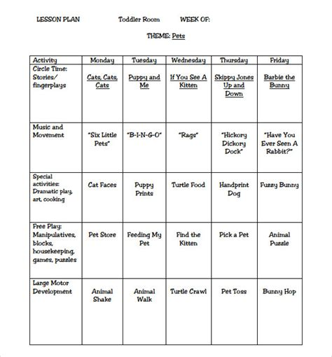 Child Care Lesson Plan Template by Sle Toddler Lesson Plan 8 Exle Format