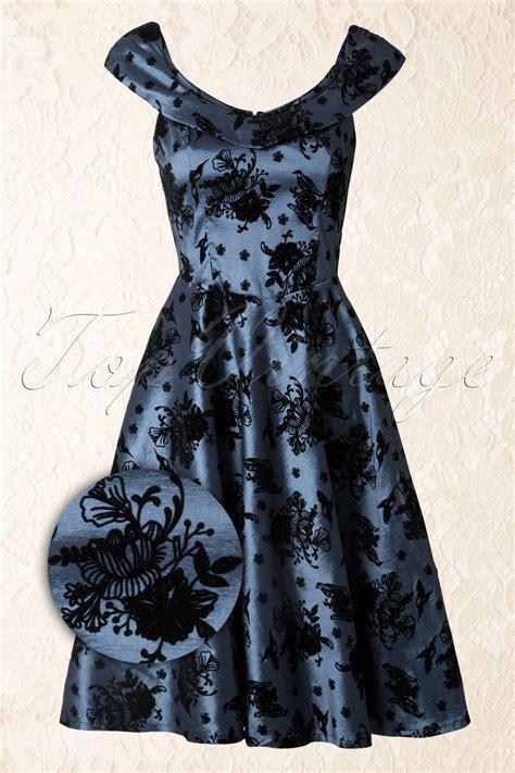40s swing 40s classy floral swing dress in blue
