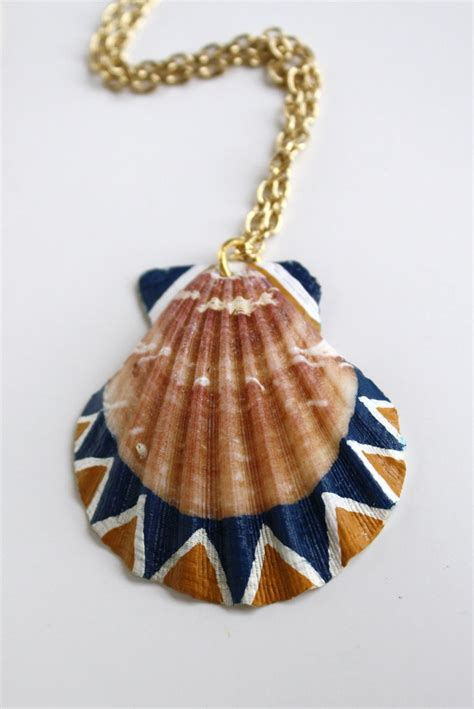 shell jewelry sea shell necklace pendant necklace navy blue mustard