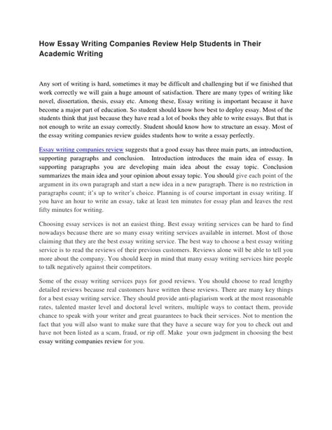 Essay Writing For Students by How Essay Writing Companies Review Help Students In Their Academic Wr