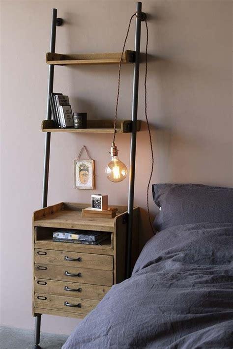 industrial style ladder shelf unit   drawers