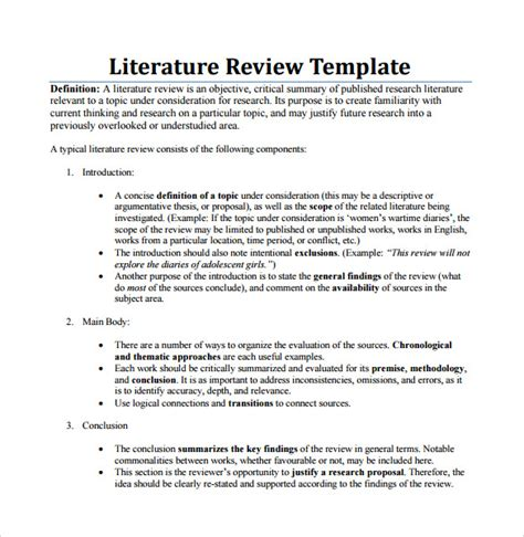 Literature Review Template 5 literature review templates for free sle