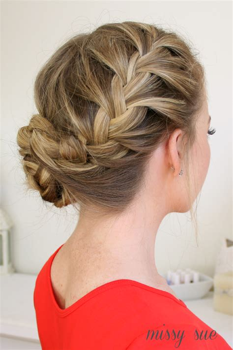 how to put braids into a bun waterfall dutch french braided bun