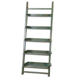 aged jade blue leaning ladder shelf coastal cottage