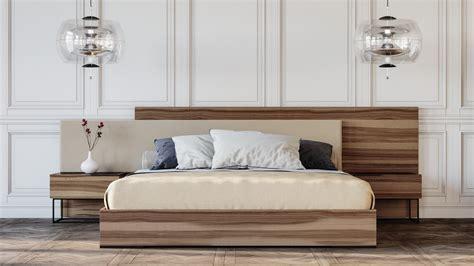 nova domus matteo italian modern walnut fabric bedroom set