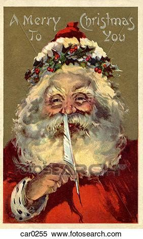 vintage christmas postcard  santa claus holding  feather   nose stock illustration