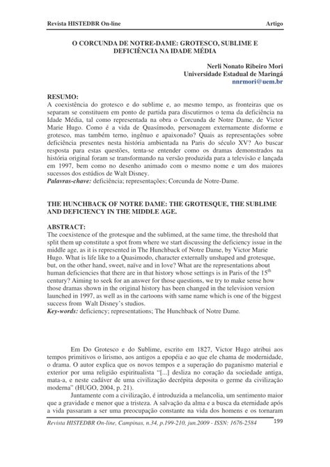 (PDF) O Corcunda de Notre-Dame: grotesco, sublime e