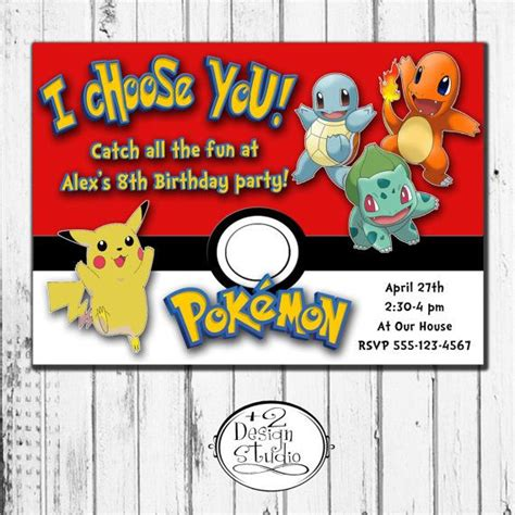designs pokemon birthday invitations personalized