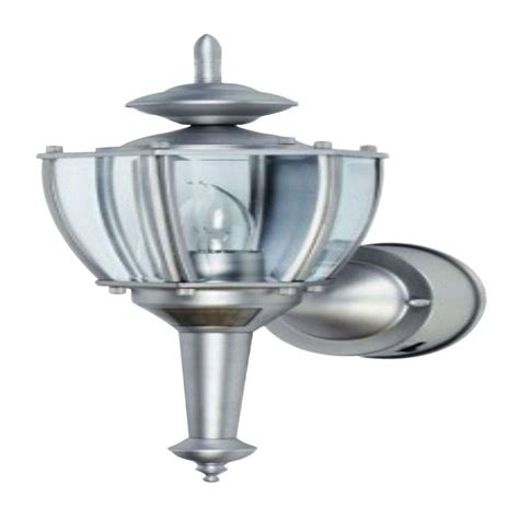 Outdoor Motion Sensor Coach Lights Cci 19 In Pewter Motion Activated Outdoor Beveled Glass Coach Lantern L2553pw The Home Depot