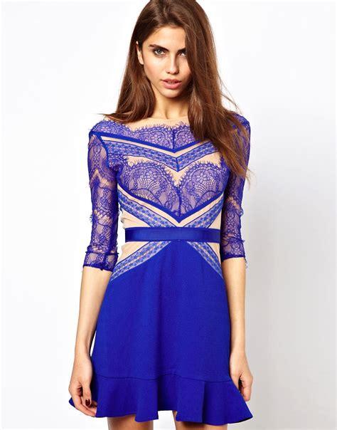 three floor three floor shade of blue lace dress at asos