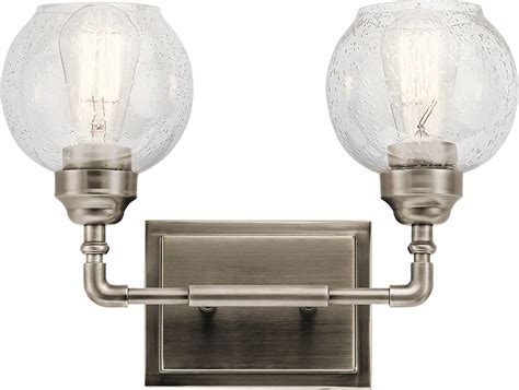 Kichler 45591ap Niles Modern Antique Pewter 2 Light Bath Vintage Bathroom Lighting Fixtures