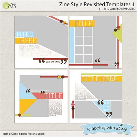 Digital Scrapbook Template Zine Style 1 Scrapping With Liz Zine Magazine Template