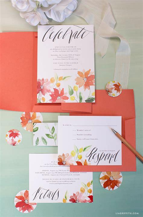 Wedding Invitations Watercolor by Watercolor Wedding Invitations Lia Griffith