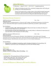 resume exles substitute resume summary
