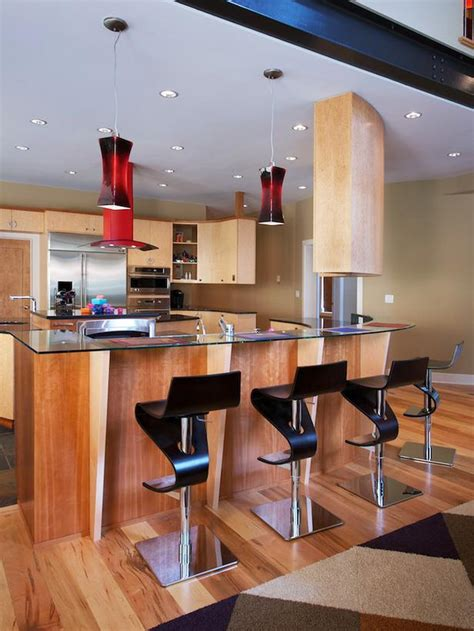 modern kitchen with red bar stools hgtv contemporary kitchen bar with black barstools designers