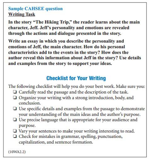 Cahsee Essay Exles by Cahsee Writing Pre Ap 2