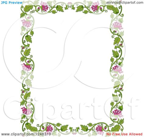 Border Clipart 1248319 Illustration By by Clipart Of A Green Leafy Vine And Pink Flower Border