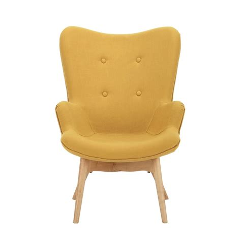 fauteuil tissu vintage fauteuil vintage enfant en bois et tissu jaune iceberg maisons du monde