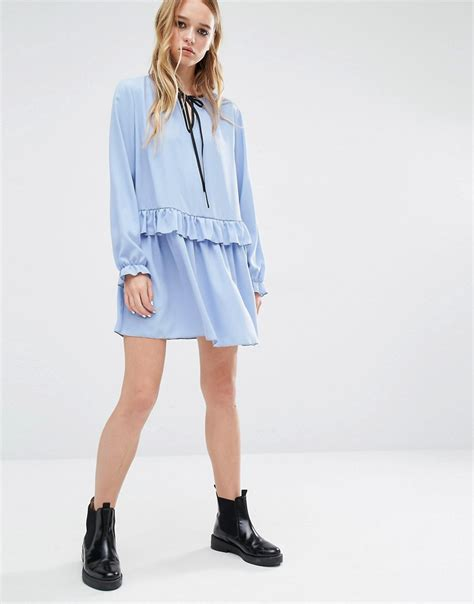 Hem Sabri Blue 4 ruffle hem smock dress by reclaimed vintage blue