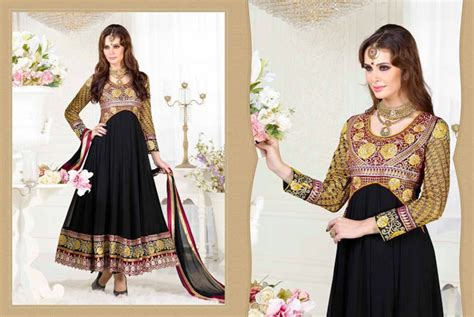 Kimora Tunik by Buy Black Designer Heavy Anarkali Salwar Kameez
