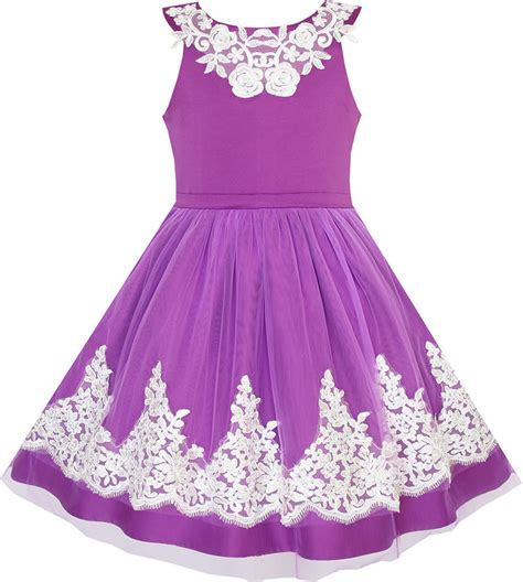 Sunny Fashion Flower Girls Dress Blueviolet Lace Pageant