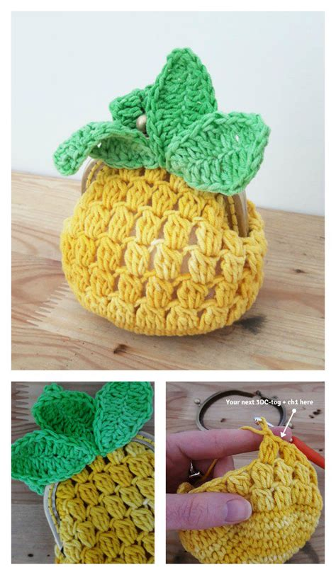free crochet pattern pineapple bag crocheted coin purse free patterns