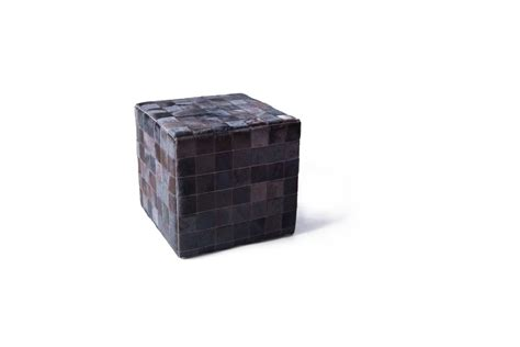 cowhide cube pouf brown mosaic patchwork fur home