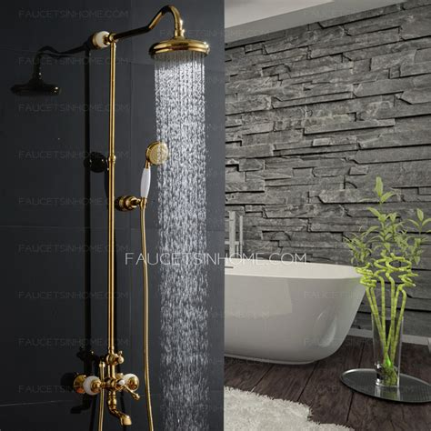 Unique Rose Gold Jade Brass Outside Bathroom Shower Faucets