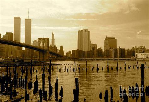 Brooklyn Bridge Shower Curtain View From Brooklyn Bridge Park Photograph By Mark Gilman
