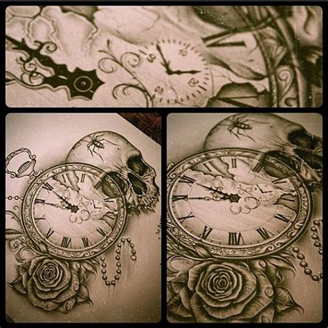 skull pocket watch rose by edward miller tattoos