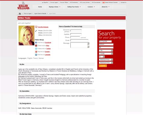profile page real estate office pros