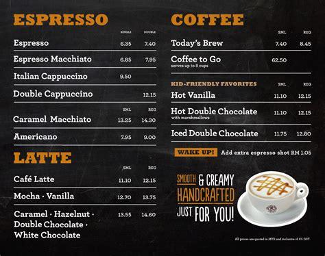 Coffee Bean Malaysia menu coffee bean east malaysia