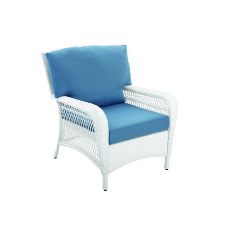 Martha Stewart Living Patio Furniture Cushions Martha Stewart Living Charlottetown White All Weather Wicker Patio Lounge Chair With Washed Blue