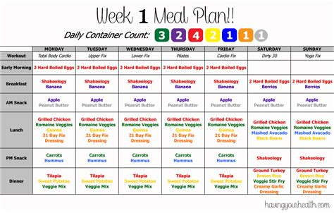 printable meal plan for 21 day fix 21 day fix meal plan printable bing