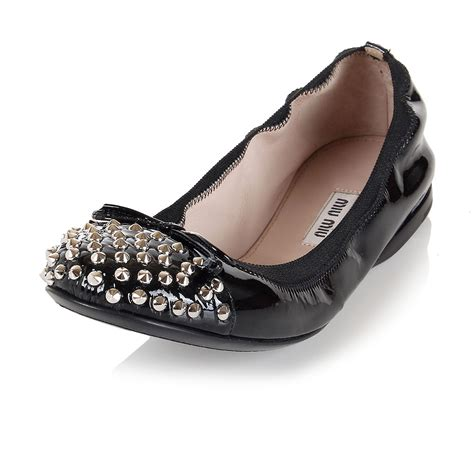 studded flat shoes miu miu new black patent leather studded flat shoes